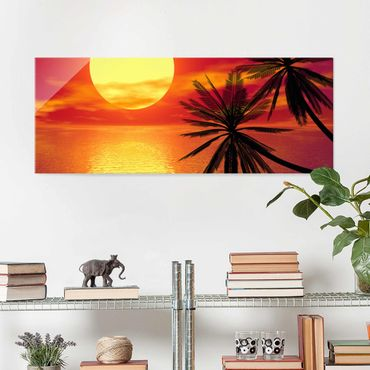 Quadro in vetro - Caribbean Sunset - Panoramico