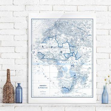 Quadro in vetro - Mappa In Toni Di Blu - Africa - Verticale 3:4