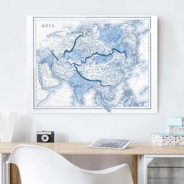 Quadro in vetro - Mappa In Toni Di Blu - Asia - Large 3:4