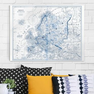Quadro in vetro - Mappa In Toni Di Blu - Europa - Large 3:4