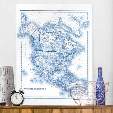 Quadro in vetro - Mappa In Toni Di Blu - America Del Nord - Verticale 3:4