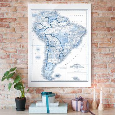 Quadro in vetro - Mappa In Toni Di Blu - America Del Sud - Verticale 3:4