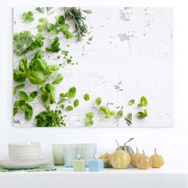 Quadro in vetro - Herbs On Wooden Shabby - Orizzontale 4:3