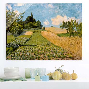 Quadro in vetro - Alfred Sisley - Summer Landscape with Fields - Orizzontale 4:3