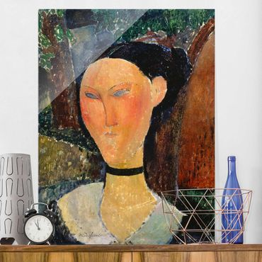 Quadro in vetro - Amedeo Modigliani - Woman with a velvet Neckband - Verticale 3:4