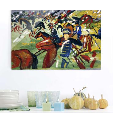 Quadro in vetro - August Macke - Hussars on a Sortie - Orizzontale 3:2