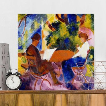 Quadro su vetro - August Macke - Couple at the Garden Table - Quadrato 1:1