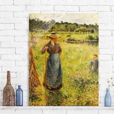 Quadro in vetro - Camille Pissarro - La Raccolta del Fieno - Impressionismo - Verticale 3:4