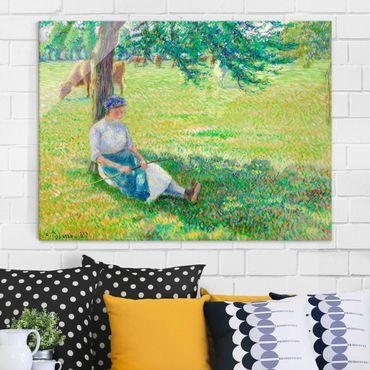 Quadro su vetro - Camille Pissarro - La Pastorella, Eragny - Impressionismo - Orizzontale 4:3