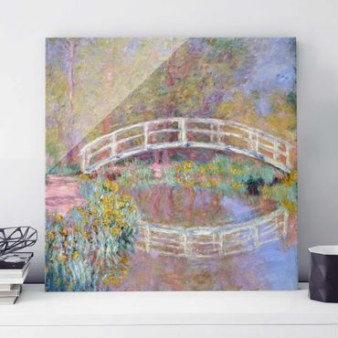 Quadro su vetro - Claude Monet - Il Ponte nel Giardino di Monet - Impressionismo - Quadrato 1:1