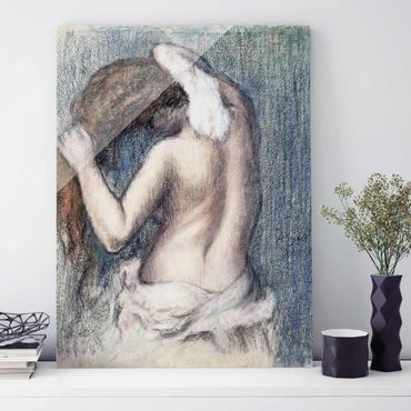 Quadro in vetro - Edgar Degas - Donna che si asciuga - Impressionismo - Verticale 3:4