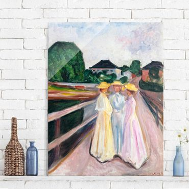 Quadro in vetro - Edvard Munch - Tre Ragazze sul Ponte - Espressionismo - Verticale 3:4