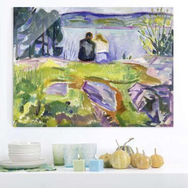 Quadro in vetro - Edvard Munch - Primavera (Paio Amore sulla Riva) - Espressionismo - Orizzontale 4:3