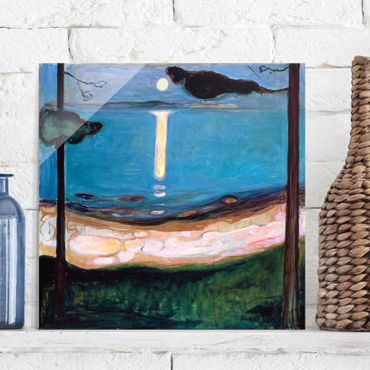 Quadro in vetro - Edvard Munch - Notte di Luna - Espressionismo - Quadrato 1:1