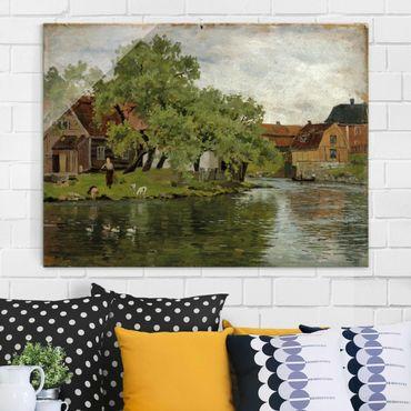 Quadro in vetro - Edvard Munch - Scene sul Fiume Akerselven - Espressionismo - Orizzontale 4:3