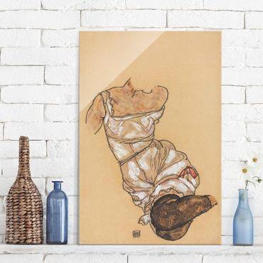 Quadro in vetro - Egon Schiele - Female torso in underwear and black stockings - Verticale 2:3