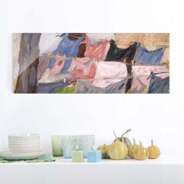 Quadro in vetro - Franz Marc - Lavanderia nel Vento - Espressionismo - Panoramico