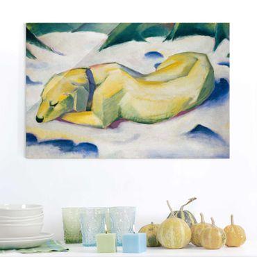 Quadro in vetro - Franz Marc - Cane che si trova nella Neve - Espressionismo - Orizzontale 3:2