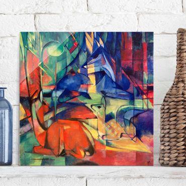 Quadro in vetro - Franz Marc - Cervi nella Foresta II - Espressionismo - Quadrato 1:1