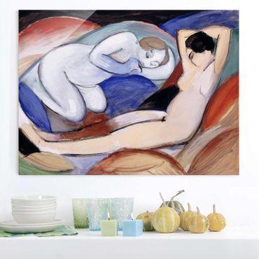 Quadro in vetro - Franz Marc - Due nudi mentendo - Espressionismo - Orizzontale 4:3