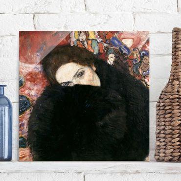 Quadro in vetro - Gustav Klimt - Signora con Scaldino - Art Nouveau - Quadrato 1:1