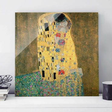 Quadro in vetro - Gustav Klimt - Il Bacio - Art Nouveau - Quadrato 1:1