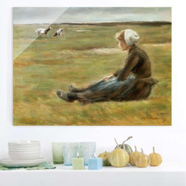 Quadro in vetro - Max Liebermann - Goat Herdess in Sand Dunes - Orizzontale 4:3