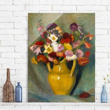 Quadro in vetro - Otto Modersohn - Colorful Bouquet in Yellow Clay Jug - Verticale 3:4