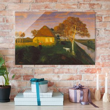 Quadro in vetro - Otto Modersohn - Moor Cottage in the Evening Sun - Orizzontale 3:2