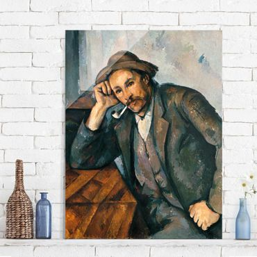 Quadro in vetro - Paul Cézanne - Fumatore con braccio appoggiato - Impressionismo - Verticale 3:4