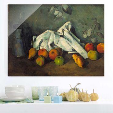 Quadro in vetro - Paul Cézanne - Brocca di Latte e le Mele - Impressionismo - Orizzontale 4:3
