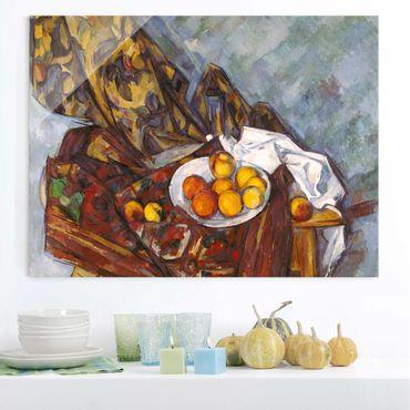Quadro in vetro - Paul Cézanne - Nature morte, Tenda Fiore e Frutta - Impressionismo - Orizzontale 4:3