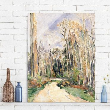 Quadro su vetro - Paul Cézanne - Percorso presso l'Ingresso della Foresta - Impressionismo - Verticale 3:4