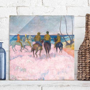 Quadro in vetro - Paul Gauguin - Cavalieri sulla Spiaggia (I) - Post-Impressionismo quadrato 1:1