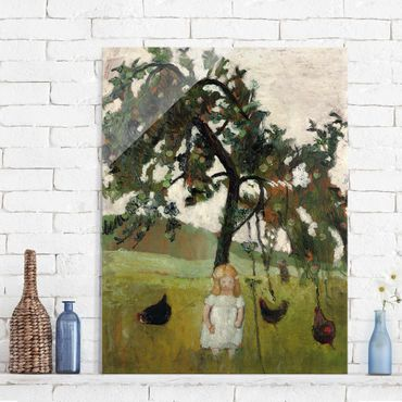 Quadro in vetro - Paula Modersohn-Becker - Elsbeth with Chickens under Apple Tree - Verticale 3:4