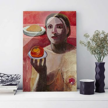Quadro in vetro - Paula Modersohn-Becker - Semi-nude Italian Woman with Plate - Verticale 2:3