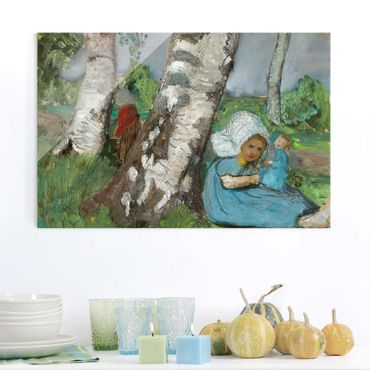 Quadro in vetro - Paula Modersohn-Becker - Child with Doll Sitting on a Birch Trunk - Orizzontale 3:2