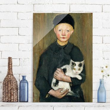 Quadro in vetro - Paula Modersohn-Becker - Boy with Cat - Verticale 2:3