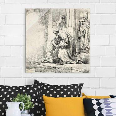 Quadro in vetro - Rembrandt van Rijn - The Return of the prodigal Son - Quadrato 1:1