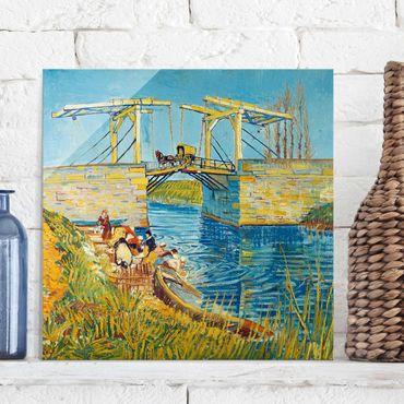 Quadro su vetro - Vincent van Gogh - Il Ponte di Langlois ad Arles con Lavandaie - Post-Impressionismo quadrato 1:1