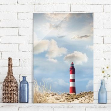 Quadro in vetro - Lighthouse in the dunes - Verticale 2:3