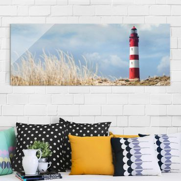 Quadro in vetro - Lighthouse In The Dunes - Panoramico