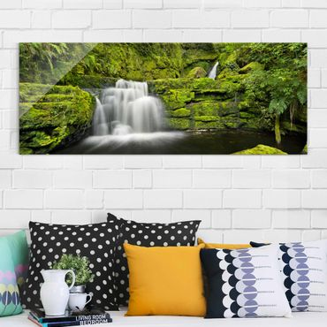 Quadro in vetro - Lower Mclean Falls In New Zealand - Panoramico