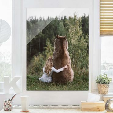 Quadro in vetro - Ragazza Con Brown Bear - Verticale 3:4