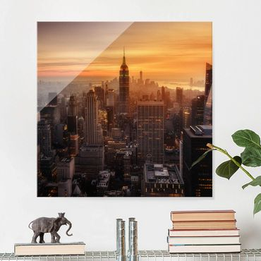 Quadro in vetro - Manhattan Skyline Evening - Quadrato 1:1