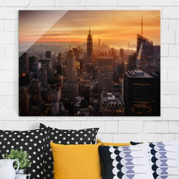 Quadro in vetro - Manhattan Skyline Evening - Large 3:4