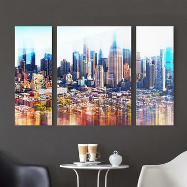 Quadro in vetro - Manhattan Skyline Urban Stretch - 3 parti
