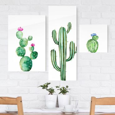 Quadro in vetro - Watercolor Cactus Set - 3 parti set