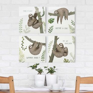 Quadro in vetro - Sloth Proverbi Set II - 4 parti set
