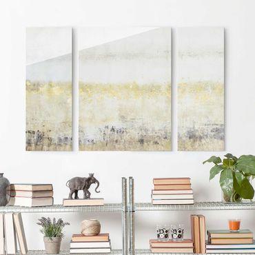 Quadro in vetro - Golden Color Fields I - 3 parti